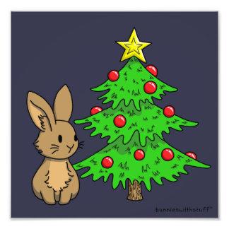Konijntje met een Kerstboom Fotografische Afdruk