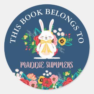 Konijntje | van Boho Bloemen Dit Boek behoort tot Ronde Sticker