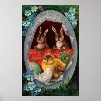 Konijntjes en het Poster van Pasen van het Kuiken