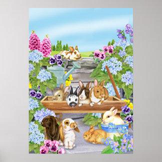 Konijntjes in de Tuin Poster