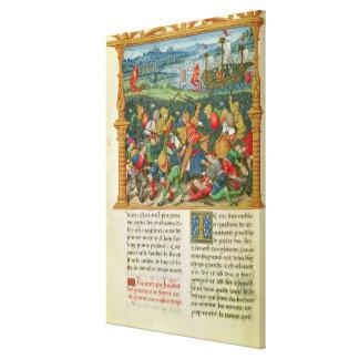 Koning Edward III Oorlog Waging bij de Slag van Canvas Print