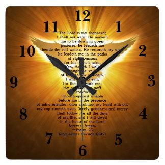 Koning James Version Psalm 23 het Heilige Schrift Vierkante Klok