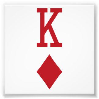 Koning van de Rode Speelkaart van Diamanten Foto Prints