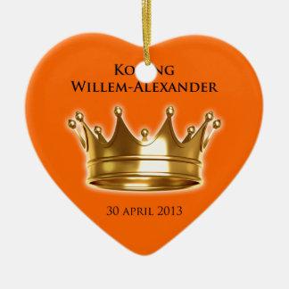 Koning Willem-Alexander Keramisch Hart Ornament