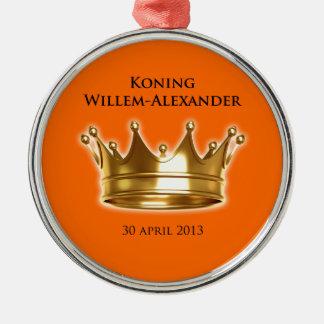 Koning Willem-Alexander Zilverkleurig Rond Ornament