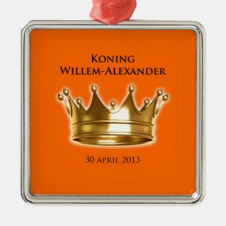 Koning Willem-Alexander Zilverkleurig Vierkant Ornament