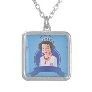 koningin elizabeth 2 zilver vergulden ketting