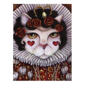 Koningin van de Kat Alice Wonderland Fantasy Art Briefkaart