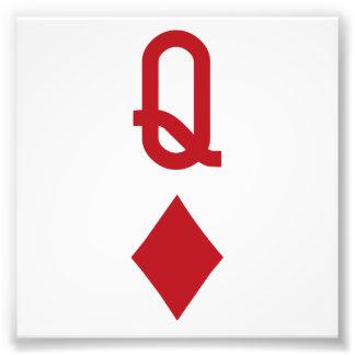 Koningin van de Rode Speelkaart van Diamanten Foto Afdruk