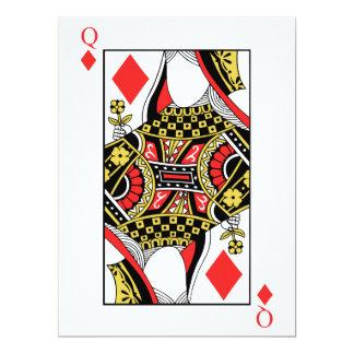 Koningin van Diamanten - voeg Uw Afbeelding toe 16,5x22,2 Uitnodiging Kaart