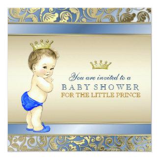 Koningsblauwen en het Gouden Baby shower van de 13,3x13,3 Vierkante Uitnodiging Kaart