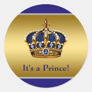 Koningsblauwen en het Gouden Baby shower van de Ronde Sticker