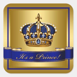 Koningsblauwen en het Gouden Baby shower van de Vierkante Sticker