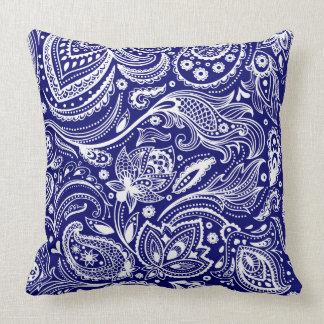 Koningsblauwen & Wit Vintage BloemenPaisley Kussen