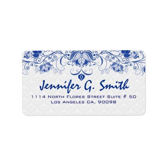 Koningsblauwen & Witte Vintage BloemenKant & Addressticker