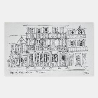Koninklijke Straat, Frans Kwart | New Orleans Rechthoekige Sticker