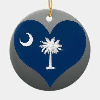 Koop Vlag de Zuid- van Carolina Rond Keramisch Ornament
