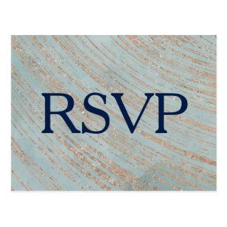 Koper en Blauw Marmeren Huwelijk RSVP Briefkaart