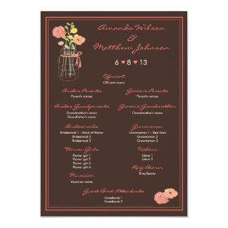 Koraal en het Bruine Programma van het Huwelijk 12,7x17,8 Uitnodiging Kaart
