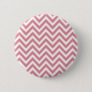 Koraal en het Witte Patroon van de Zigzag van de Ronde Button 5,7 Cm