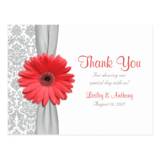 Koraal Gerbera Daisy Grey Damask Wedding Thank u Briefkaart