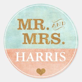 Koraal, Goud, de Sticker van het Huwelijk van de