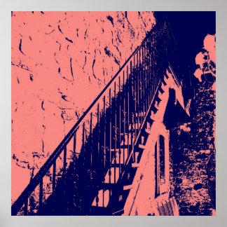Koraal/het Marineblauwe Poster van Treden