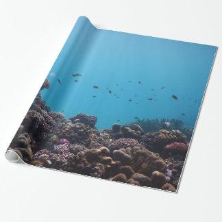 Koraalrif en Tropische Vissen van Vreedzame Oceaan Inpakpapier
