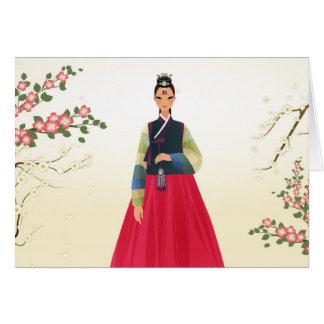 Koreaans meisje in hanbok briefkaarten 0
