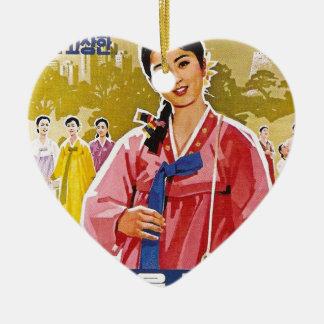 Koreaanse Dames die Hanbok dragen Keramisch Hart Ornament
