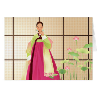 Koreaanse vrouw die een hanbok draagt briefkaarten 0