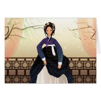 Koreaanse vrouw die een hanbok draagt kaart