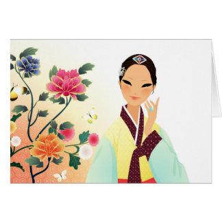 Koreaanse vrouw die een hanbok dragen briefkaarten 0