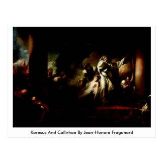 Koresus en Callirhoe door Jean-Honore Fragonard Briefkaart