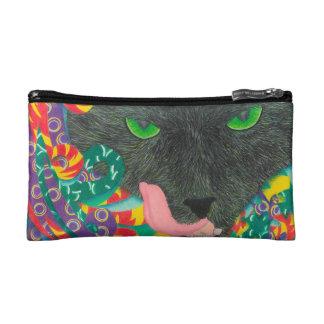 Kosmetische zak enge zwarte kat met groene ogen make-up bag