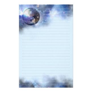 Kosmische Blauwe Yin Gevoerd Yang Briefpapier