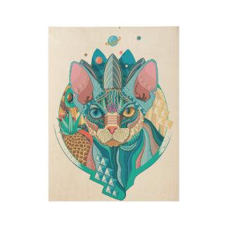 Kosmische Kat Sphynx Houten Poster