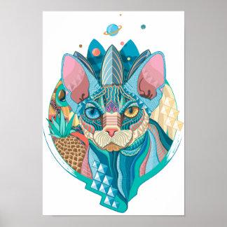Kosmische Kat Sphynx Poster