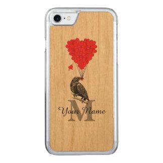 Kraai en rood hartmonogram carved iPhone 7 hoesje