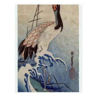 Kraan in Golven door Hiroshige Briefkaart