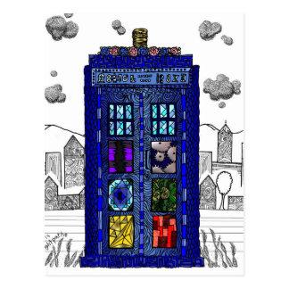Krabbel van een blauwe telefooncel van de briefkaart