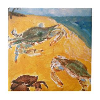 Krabben op het strand tegeltje