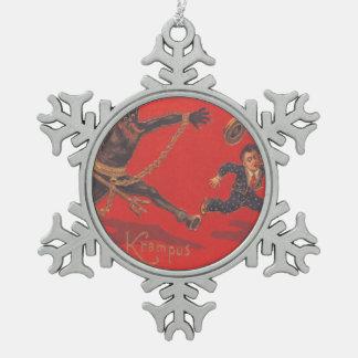 Krampus die Jongen achtervolgen Tin Sneeuwvlok Ornament