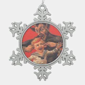 Krampus die Little Boy straffen Tin Sneeuwvlok Ornament