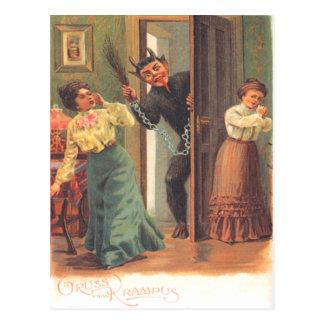 Krampus die Vrouwen straffen Briefkaart