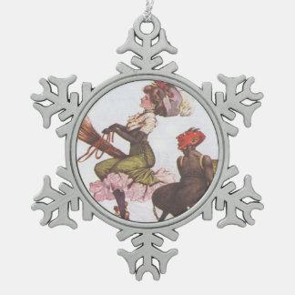 Krampus & Victoriaans Heks Tin Sneeuwvlok Ornament