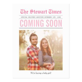 Krant | Aankondiging | van de Zwangerschap Roze Briefkaart