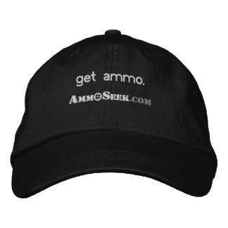 Krijg het Pet van het Logo van Munitie AmmoSeek Geborduurde Pet