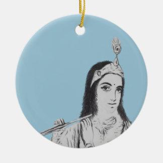Krishna met Fluit Rond Keramisch Ornament