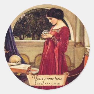 Kristallen bol Pre-Raphaelite Bookplate Ronde Sticker